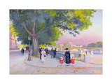 Promenade on the Banks of the Seine in Paris Giclee Print by Jules Ernest Renoux