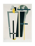 Abstract Composition in Grey, Yellow and Black Giclee Print by Eliezer Markowich Lissitzky