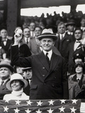 President Calvin Coolidge (1872-1933) Throws Out the First Ball of the 1924 World Series, 1924 Photographic Print by  American Photographer