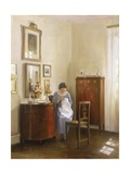 Interior with Lady Sewing, c.1910 Gicléetryck av Carl Holsoe