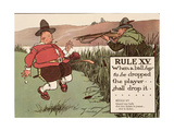 Rule XV: When a Ball Has to Be Dropped the Player Shall Drop It, from 'Rules of Golf', Published… Giclee Print by Charles Crombie