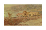On the Bank of an African River, 1918 Giclee Print by Briton Rivière