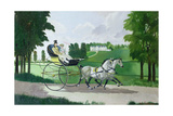Regency Couple in a Curricle, 1960s Giclee Print by Doris Clare Zinkeisen