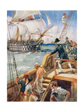 Our Captain Hailed the Frenchman 'Ho!', Illustration from 'Ballads of Famous Fights', c.1900 Giclee Print by Archibald Webb