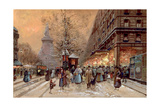 A Busy Boulevard Near the Place de La Republique, Paris Giclee Print by Eugene Galien-Laloue