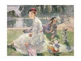 The Round Pond, Kensington Gardens, 1934 Giclee Print by Ester Borough Johnson