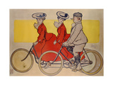 Man on a Bicycle and Women on a Tandem, 1905 Gicléedruk van René Vincent