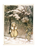 """Winter"" from 'Peter Pan in Kensington Gardens' by J.M. Barrie, 1906 Gicleetryck av Arthur Rackham"