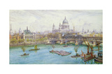 View from the South of St Paul's Cathedral, Blackfriars Bridge and City of London School with… Giclee Print by Henry Edward Tidmarsh