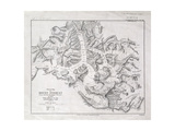 Sketch Map of Mount Everest from Surveys by Major Wheeler in 1921 with Addi Stampa giclée di  English School