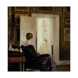A Woman Seated Near a Door Giclee Print by Carl Holsoe