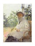 Portrait of Lev Nikolaevich Tolstoy (1828-1910) on the Terrace, 1905 Giclee Print by Ivan Pokitonov