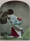 Young Japanese Girl in the Rain, c.1900 Lámina fotográfica por  Japanese Photographer