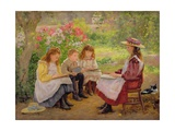 Lesson in the Garden, 1900 Giclee Print by Ada Shirley-Fox