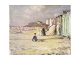 Figures Walking Beside a Line of Beach Huts Giclee Print by Philip Wilson Steer