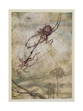 The Spider and the Fly, Illustration from 'Aesop's Fables', Published by Heinemann, 1912 Gicleetryck av Arthur Rackham