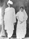 Kasturba (1869-1944) and Mahatma Gandhi (1869-1948) Photographic Print by Indian School