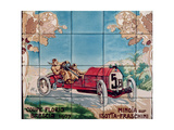 Minoia Driving an Isotta Fraschini Car in the Florio Brescia Cup of 1907: Ceramic Tiles… Giclee Print by Ernest Montaut