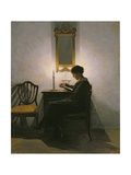 Woman Reading by Candlelight, 1908 Giclee Print by Peter Vilhelm Ilsted