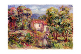 Woman Picking Flowers in the Garden of Les Colettes at Cagnes, 1912 Giclée-tryk af Pierre-Auguste Renoir