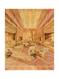 Interior of the First Class Lounge on R.M.S. 'Queen Mary' Giclee Print by Hugh McKenna