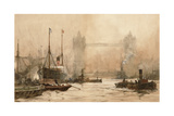Tower Bridge from Cherry Garden Pier, c.1900 Giclee Print by Charles Edward Dixon