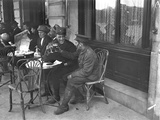 Soldiers Drinking on a Cafe Terrace Photographic Print by Jacques Moreau