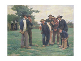 Playing Boules on the Outskirts of Concarneau Giclee Print by Theophile Louis Deyrolle