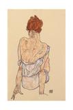 Seated Woman in Underwear, Rear View, 1917 Impression giclée par Egon Schiele