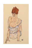 Seated Woman in Underwear, Rear View, 1917 Giclee Print by Egon Schiele