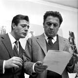 Marcello Mastroianni (1924-96) and Federico Fellini (1920-93) Photographic Print by  Italian Photographer
