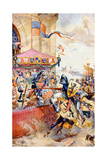 A Joust on Tower Bridge, Illustration from 'Hutchinson's Story of the British Nation' Giclee Print by Richard Beavis