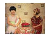 Two Children with a Bowl of Cherries Giclee Print by Franz von Matsch