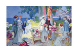 Tea Party in a Garden on the French Riviera, Illustration from 'La Vie Heureuse', March 1913 Giclee Print by Rene Lelong