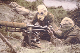 British Vickers Machine Gun Crew on the Some, Wearing Helmets as Protection Against German… Photographic Print by  English Photographer