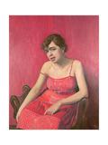Romanian Woman in a Red Dress, 1925 Giclee Print by Felix Edouard Vallotton