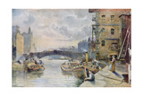 Leeds Bridge from Aire and Calder Navigation Wharf, 1911 Giclee Print by Arthur Netherwood