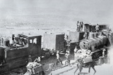 Railway Locomotives with Supply Camels in Mesopotamia During World War One, Photographic Print by  English Photographer