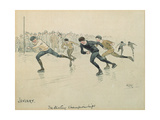 The Month of January: Ice-Skating Giclee Print by George Derville Rowlandson