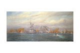 H.M.S. Albion Commanded by Capt. A. Walker-Heneage Completing the Destruction of the Outer Forts… Giclee Print by Alma Claude Burlton Cull