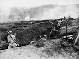 German Soldiers under Attack in a Trench on the Western Front, 1917 Photographic Print by  German photographer