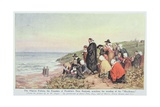 The Pilgrim Fathers, the Founders of Franklin's New England, Watching the Receding of the… Giclee Print by Alfred Walter Bayes