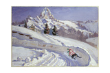 Tobogganing Near the Matterhorn Giclee Print by Alice Maud Fanner