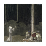 Brother St. Martin and the Three Trolls, 1913 Giclée-tryk af John Bauer