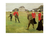 Golf Players at Copenhagen Golf Club Giclee Print by Paul Fischer