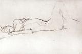 Gustav Klimt - Nude Woman in Bed, c.1914 Digitálně vytištěná reprodukce