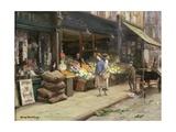 A London Street Market Giclee Print by Allan Douglas Davidson