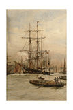 On the Thames Below Greenwich, c.1905 Giclee Print by Charles Edward Dixon