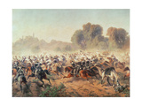 Detail of the Charge of the Battalion of Genova and Savoia Cavalry at the Volta Mountains, 1848 Giclee Print by  Italian School