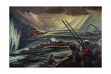 Convoy under Attack, 1945 Giclee Print by Thomas Charles Wood